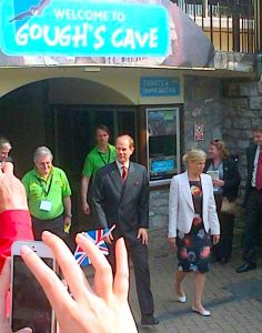 Earl and Countess of Wessex visiting Cheddar Gorge today.